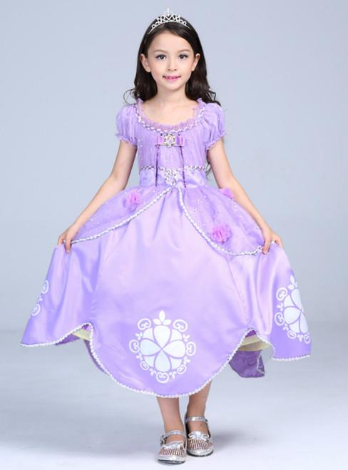 In Stock:Ship in 48 Hours Purple Satin Cap Sleeve Princess Sophia Skirt