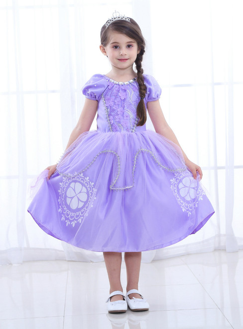 In Stock:Ship in 48 Hours Purple Satin Cap Sleeve Appliques Princess Dress