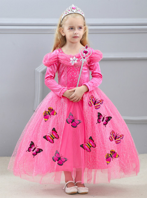 In Stock:Ship in 48 Hours Fuchsia Tulle Long Sleeve Princess Ai Luo dress