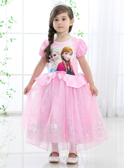 In Stock:Ship in 48 Hours Pink Tulle Cap Sleeve Frozen Princess Dress