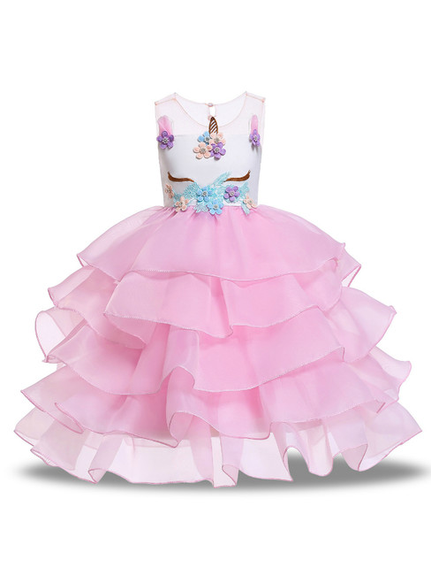 In Stock:Ship in 48 Hours  Pink Organza Appliques Unicorn Princess Dress