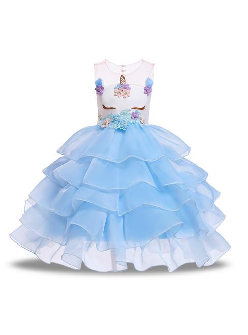 In Stock:Ship in 48 Hours Blue Organza Appliques Unicorn Princess Dress