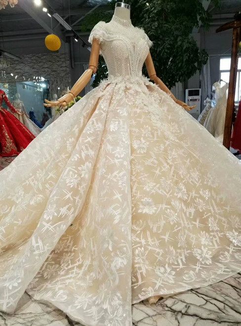 Champagne Ball Gown Lace Tulle Off The Shoulder Wedding Dress With Train