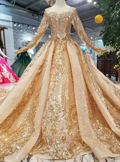 Champagne Gold Tulle Sequins Bateau Long Sleeve Crystal Wedding Dress With Train