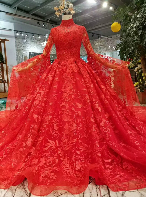 Red Ball Gown Lace Long Sleeve High Neck Wedding Dress With Long Train