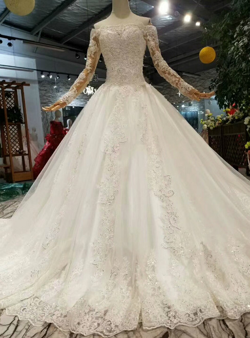 White Ball Gown Tulle Appliques Off The Shoulder Wedding Dress With Beading