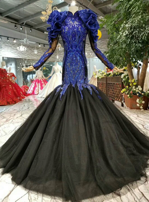 Mermaid Black Tulle And Blue Beading Appliques Long Sleeve With Removable Shoulder Ornament