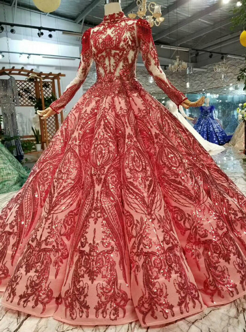 Red Ball Gown Sequins High Neck Long Sleeve Beading Wedding Dress With Removable Shoulder Ornament