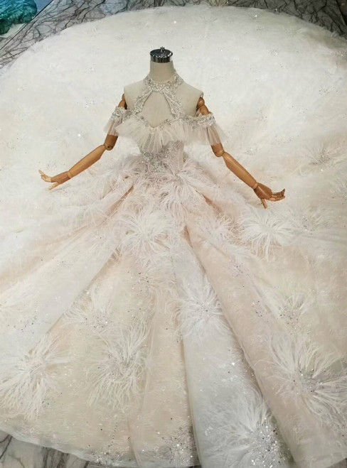 Champagne Ball Gown Tulle Sequins Halter Backless Wedding Dress With Feather