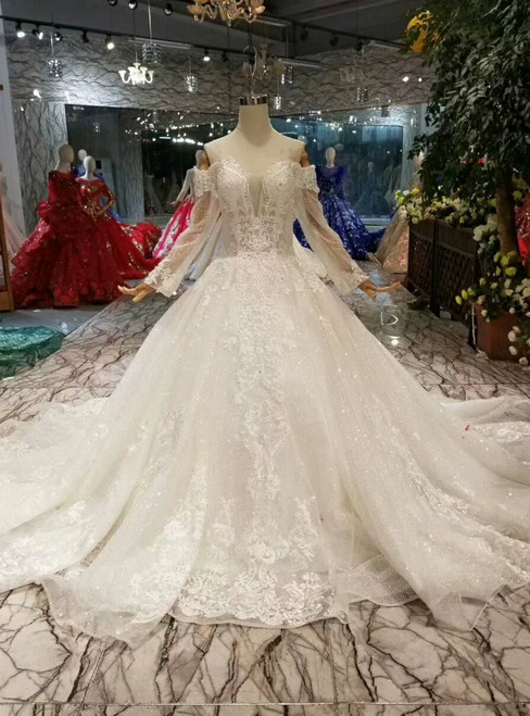 Ivory White Tulle Sequins Off the Shoulder Long Sleeve Wedding Dress With Pearls
