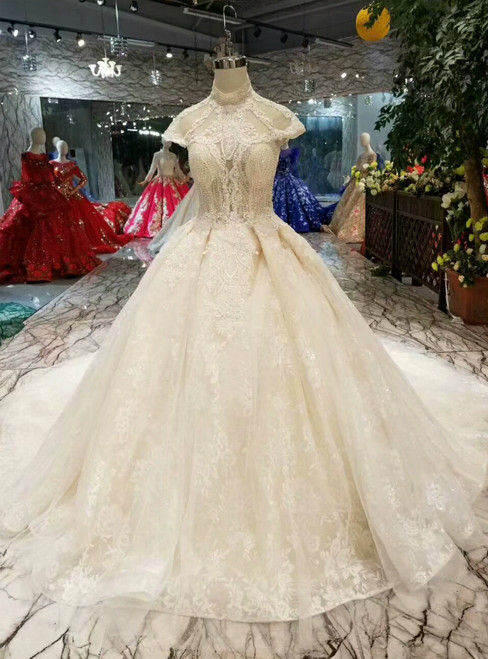 Champagne Ball Gown Tulle Lace Appliques High Neck Cap Sleeve Backless Wedding Dress