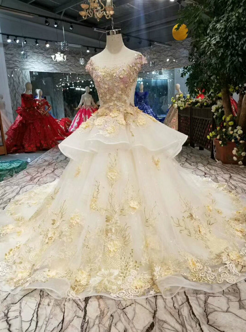 Champagne Ball Gown Tulle Cap Sleeve Embroidery Appliques Wedding Dress