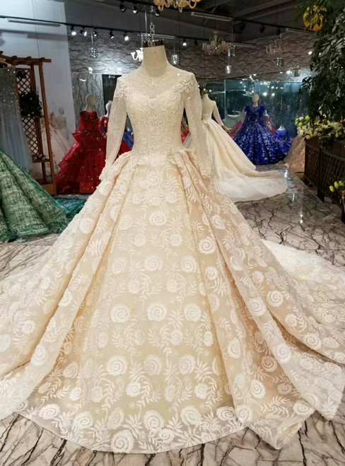 Champagne Ball Gown Lace Long Sleeve Beading Appliques Wedding Dress