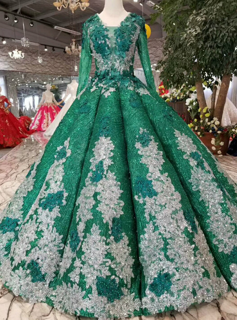 Green Ball Gown Sequins See Through V-neck Long Sleeve Appliques Wedding Dress