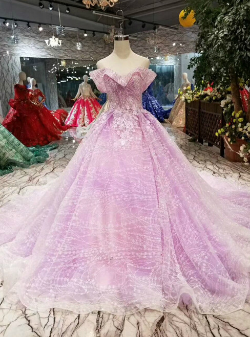 Purple Tulle Sequins Off The Shoulder Appliques Beading Wedding Dress With Train