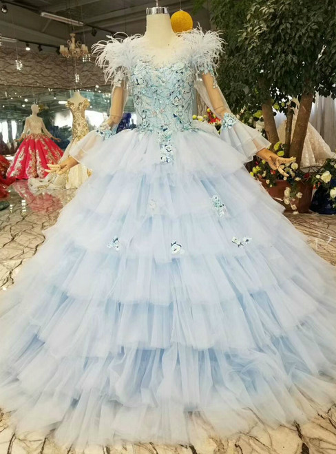 Blue Ball Gown Tulle Appliques Long Sleeve Wedding Dress With Feather