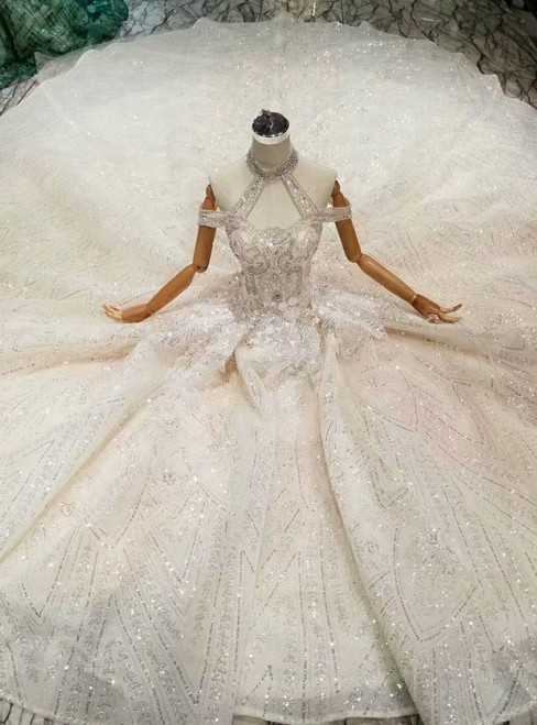 Chamapagne Ball Gown Tulle Halter Sequins Beading Wedding Dress With Train