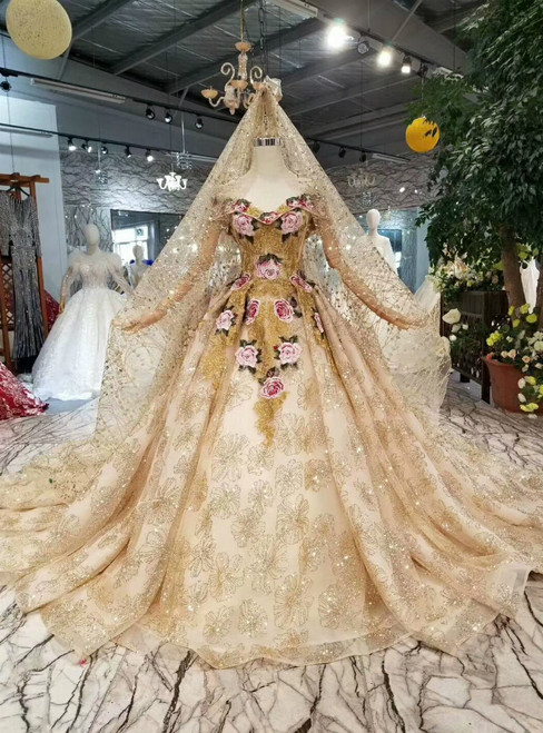 Champagne Ball Gown Tulle Sequins Off The Shoulder Embroidery Wedding Dress