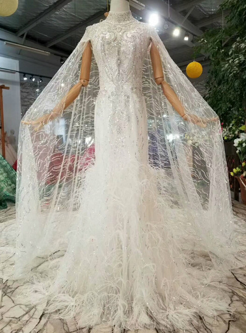 Sheath Tulle Sequins High Neck Backless Beading Crystal Wedding Dress With Train