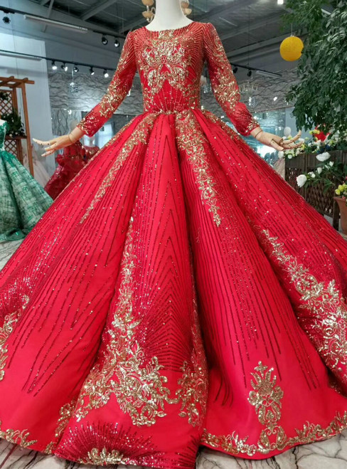 Red Ball Gown Sequins Long Sleeve Wedding Dress With Beading