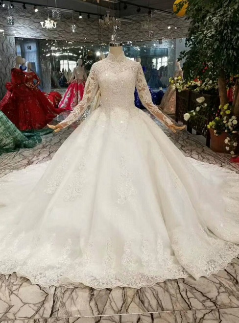 Ball Gown Tulle Appliques High Neck Long Sleeve Wedding Dress With Train