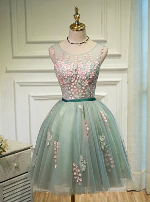 Cheap homecoming dresses 2017 Elegant A-Line Scoop Sleeveless Open-Back