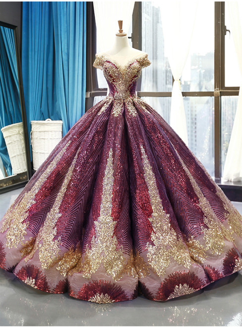 Purple Ball Gown Sequins Cap Sleeve Backless Sweet 16 Prom Dress