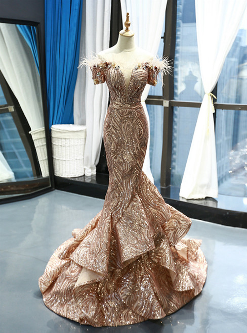 Gold Mermaid Sequins Off The Shoulder Appliques Prom Dress With Feather