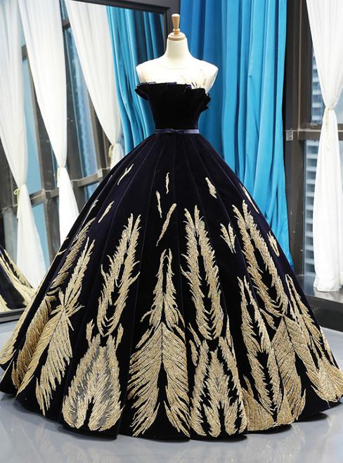 c3eb1628f5b5 Black Ball Gown Velvet Gold Appliques Backless Long Haute Couture Prom  Dresses