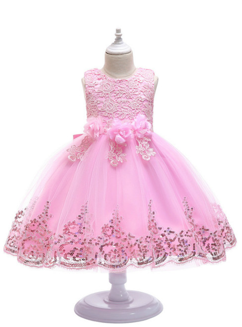 In Stock:Ship in 48 Hours Pink Tulle Lace Appliques Flower Girl Dress