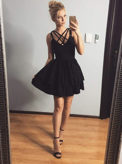 bbef4dbba9a Cheap homecoming dresses 2017 Sexy A-Line Spaghetti Straps Criss Cross