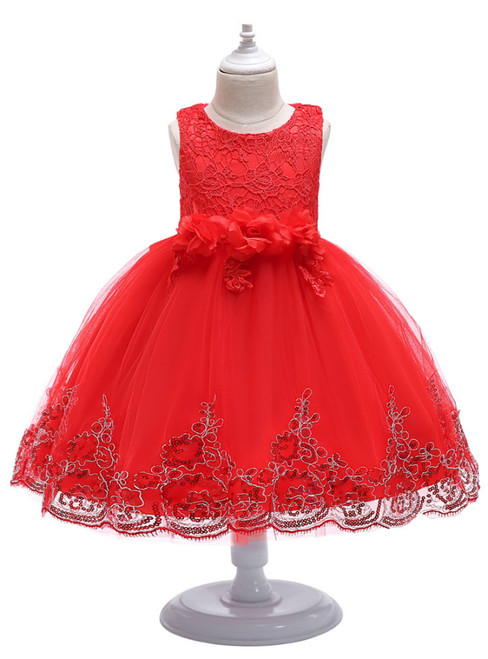 In Stock:Ship in 48 Hours Red Tulle Lace Appliques Flower Girl Dress