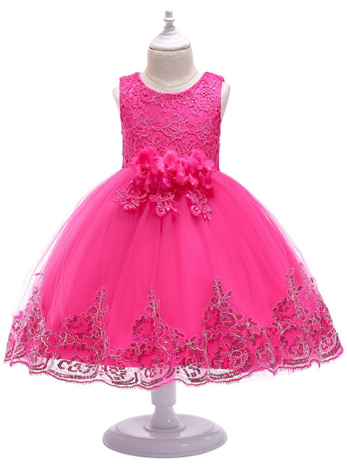 In Stock:Ship in 48 Hours Fuchsia Tulle Lace Appliques Flower Girl Dress