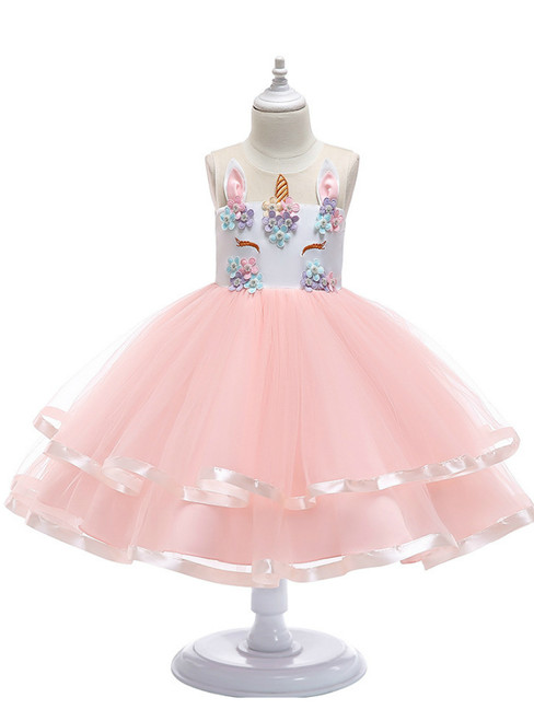 In Stock:Ship in 48 Hours Pink Tulle Appliques Unicorn Flower Girl Dress