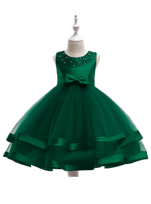In Stock:Ship in 48 Hours Green Tulle Flower Girl Dress With Pearls