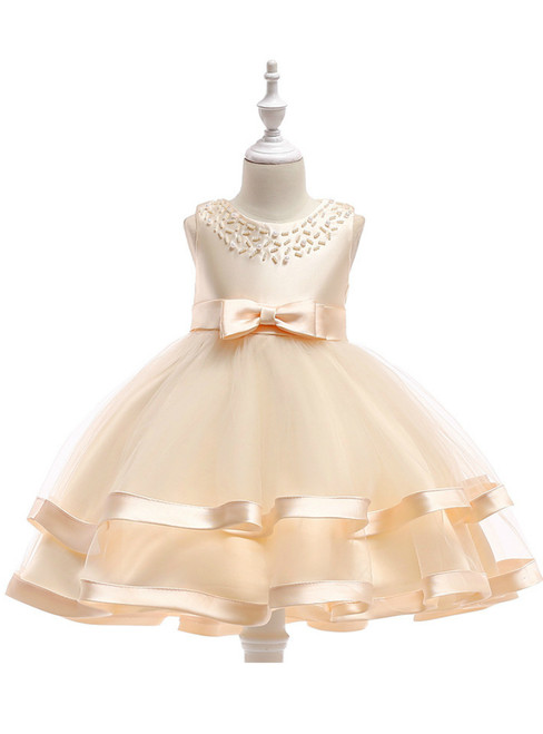 In Stock:Ship in 48 Hours Champagne Tulle Flower Girl Dress With Pearls