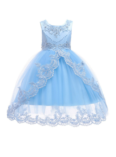 In Stock:Ship in 48 Hours Light  Blue Tulle Flower Girl Dress With Pearls