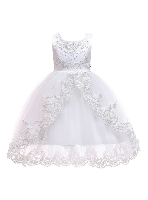 In Stock:Ship in 48 Hours White Tulle Flower Girl Dress With Pearls