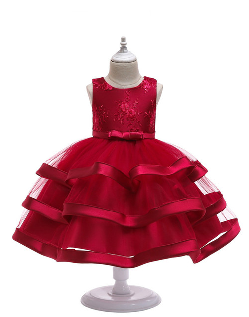 In Stock:Ship in 48 Hours Burgundy Tulle Appliques Flower Girl Dress With Bow
