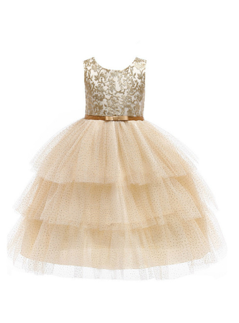 In Stock:Ship in 48 Hours Gold Tulle Sequins Appliques Flower Girl Dress