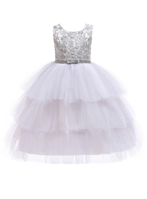 In Stock:Ship in 48 Hours White Tulle Sequins Appliques Flower Girl Dress