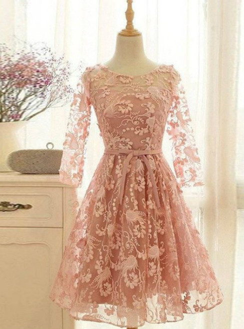 Cheap homecoming dresses 2017 Romantic A-Line Scoop Long Sleeves