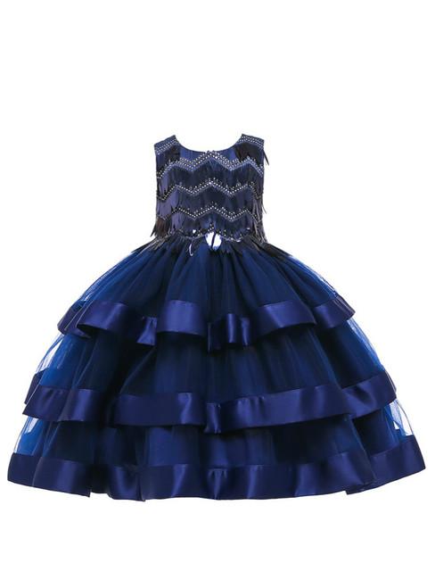 In Stock:Ship in 48 Hours Dark Blue Tulle Sequins Flower Girl Dress