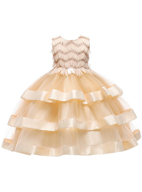 In Stock:Ship in 48 Hours Champagne Tulle Sequins Short Flower Girl Dress