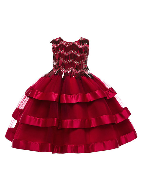 In Stock:Ship in 48 Hours Red Tulle Sequins Short Flower Girl Dress