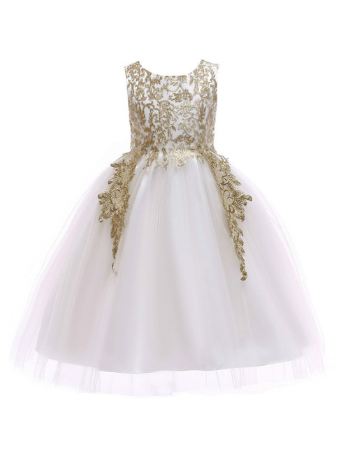 In Stock:Ship in 48 Hours White Tulle Gold Appliques Flower Girl Dress