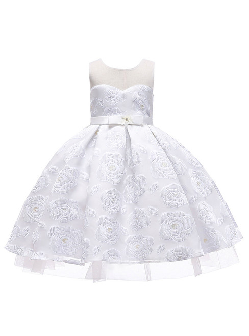 In Stock:Ship in 48 Hours White Lace Flower Girl Dress With Bow