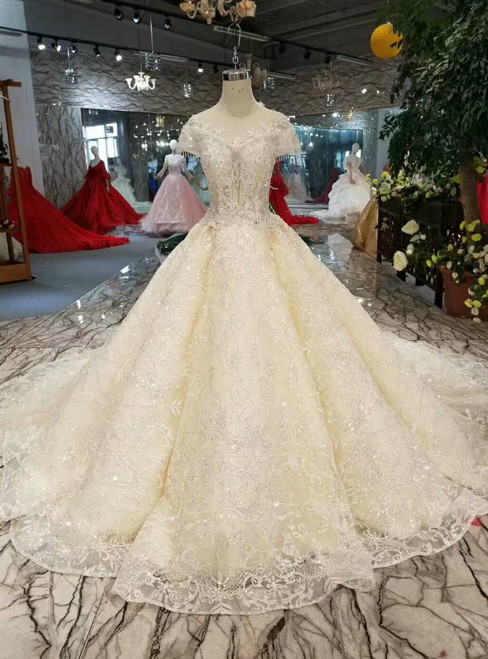 Champagne Ball Gown Tulle Sequins Cap Sleeve Backless Wedding Dress With Beading