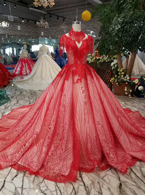 Red Ball Gown Tulle Sequins High Neck Backless Cap Sleeve Wedding Dress