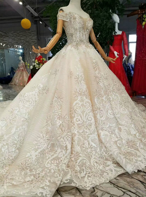 Champagne Ball Gown Lace Tulle Off The Shoulder Beading Wedding Dress With Long Train